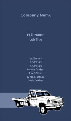 Blue Tow Truck Business Card Template